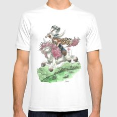 Barbarian Unicorn LARGE White Mens Fitted Tee