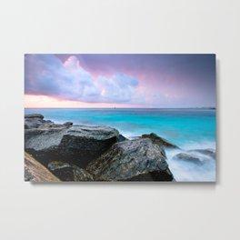 Pastel Sunrise Aqua Sea Metal Print