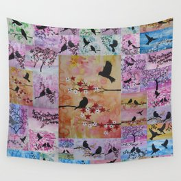 the serenity series- patchwork of sakura and birds -watercolor and acrylic- by Catherine Jacobs Wall Tapestry