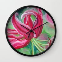lily Wall Clocks featuring lily by Beth Jorgensen