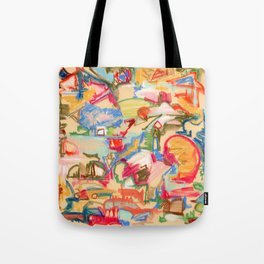 Scattered, an abstract expressionist, square, pastel painting. Tote Bag