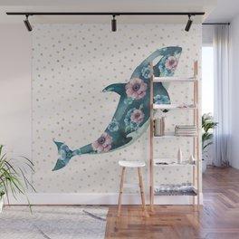 Whale Ocean Rose + Gold Polka Dot Wall Mural