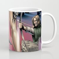 robin hood Mugs featuring Dracula vs. Robin Hood vs. Jekyll & Hyde by Eco Comics