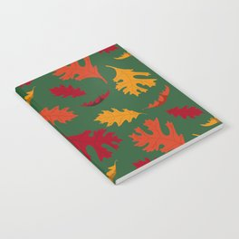Fall Leaves on Green Notebook
