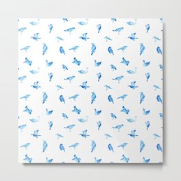 Blue Birds Pattern Metal Print