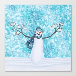 snowman and tufted titmouse flock Canvas Print