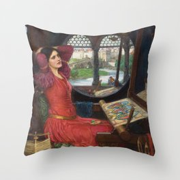I am half-sick of shadows, said the Lady of Shalott - John William Waterhouse Throw Pillow