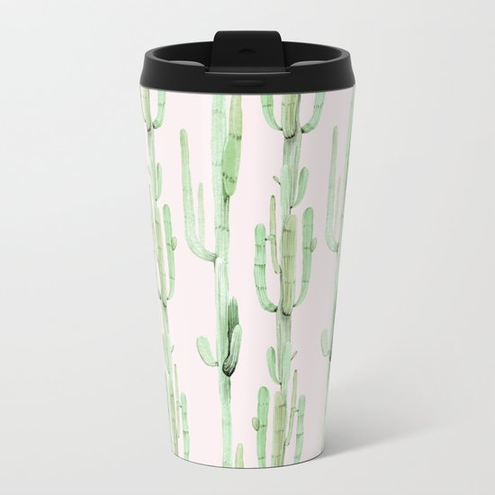 Green and Coral Pink Cactus Stack Pattern Metal Travel Mug