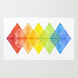 Geometric Watercolor Shapes Triangles Pattern Rug