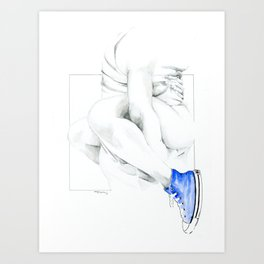 NUDEGRAFIA - 56  the girl with blue tennis shoes Art Print
