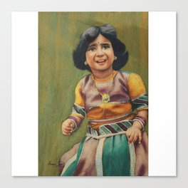 Girl is ready to celebrate birthday with awesome outfit -in watercolor Canvas Print