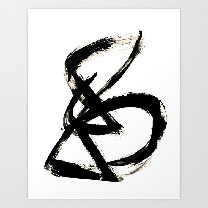 Brushstroke 3 - a simple black and white ink design Kunstdrucke