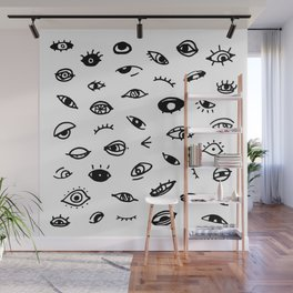Bad Eyes (White) Wall Mural