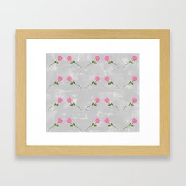 Repeating Pink Daisies Framed Art Print