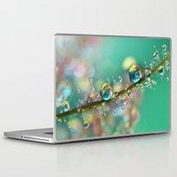 anaconda Laptop & iPad Skins featuring Smokey Rainbow Drops by Sharon Johnstone
