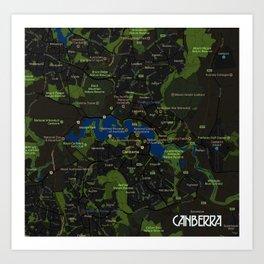 Minimalist Modern Map of Canberra, Australia A Art Print