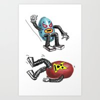 wrestling Art Prints featuring wrestling eggs by ronnie mcneil