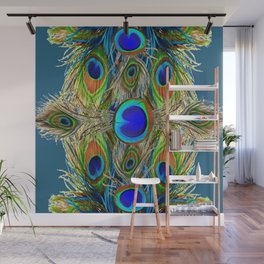 BLUE-GREEN PEACOCK EYE  FEATHERS BLUISH DESIGN Wall Mural