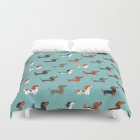 dachshund Duvet Covers featuring DACHSHUND by Doggie Drawings
