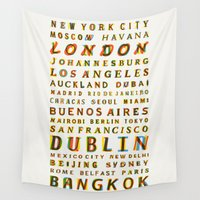 cities Wall Tapestries featuring Travel World Cities by Fimbis