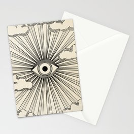Radiant eye minimal sky scene with clouds - black lines on neutral Stationery Cards