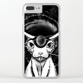 Cosmic vibes - Sphynx Cat - Black and White Clear iPhone Case