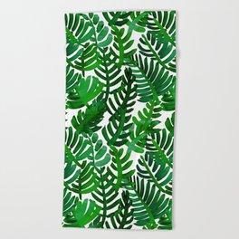 Round Palm Green Beach Towel