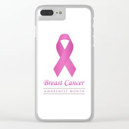 Breast cancer awareness pink ribbon- graphic to support women suffering from breast cancer Clear iPhone Case