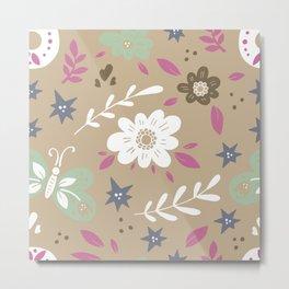 Flowers and butterflies In Brown Pattern Metal Print