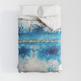 Blue Skies: a pretty, minimal abstract mixed-media piece in blue, white and gold Comforters