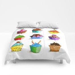 Illustration of tasty cupcakes Comforters
