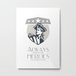 Patriots Day Greeting Card American Patriot Looking Up  Metal Print