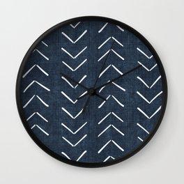 Mud Cloth Big Arrows in Navy Wall Clock
