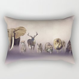 Group of wild animals . Wildlife theme background Rectangular Pillow