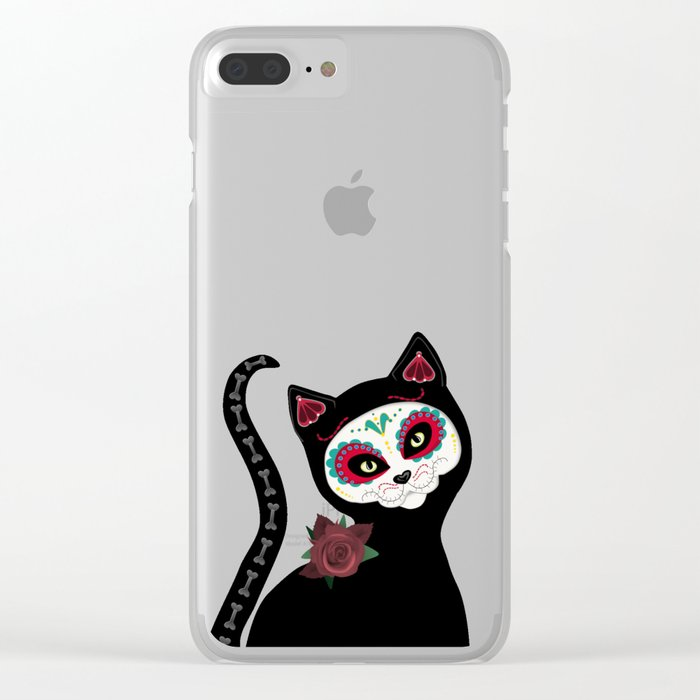 Day of the Dead Cat Clear iPhone Case
