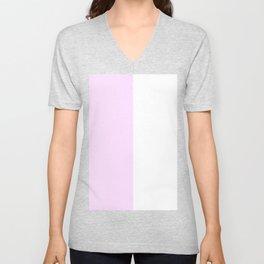 White and Pastel Violet Vertical Halves Unisex V-Neck