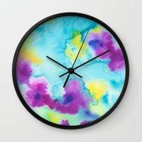 tie dye Wall Clocks featuring Tie-Dye by Tatiana Shaffer