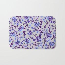 Watercolor Peonies - Periwinkle Bath Mat