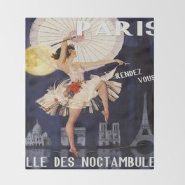 Paris at Night, Girl with Parasol Vintage Travel Poster Throw Blanket
