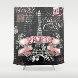 Paris Pink Black Eiffel Tower French Script Typography Wall Print Home Decor Shower Curtain
