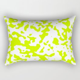 Spots - White and Fluorescent Yellow Rectangular Pillow