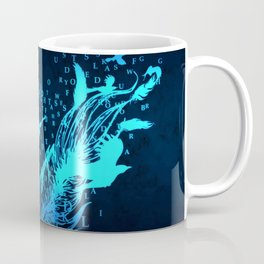 Blue feather with letters Coffee Mug