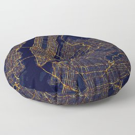 New York City At Night Floor Pillow