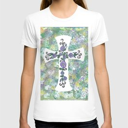 Celtic Cross with Rose of Sharon Swag T-shirt