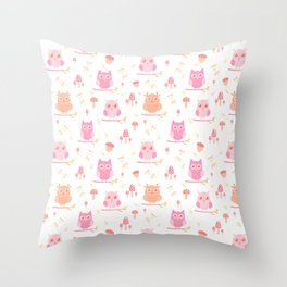 Cute funny pastel pink coral orange owl floral Throw Pillow