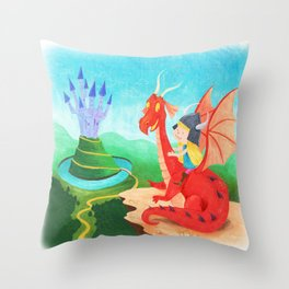 The Girl and The Dragon Throw Pillow