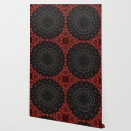 Red and Black Bohemian Mandala Design Wallpaper