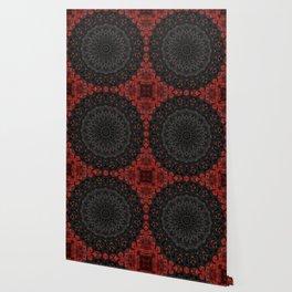 Red and Black Bohemian Mandala Design Wallpaper