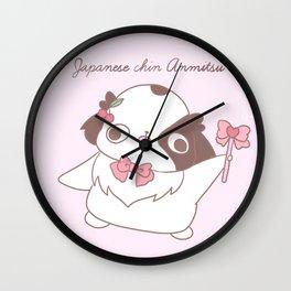 """Japanese chin Mochio """"RIBBON PRINCESS ANMITSU"""" Wall Clock"""