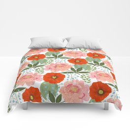 Pions and Poppies Comforters